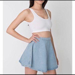 American Apparel Blue Light Wash Denim Skirt